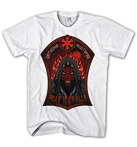 Herren T-Shirt Star Wars Darth Maul Sith Lord Fear is my ally Movie Film Kino Weiß