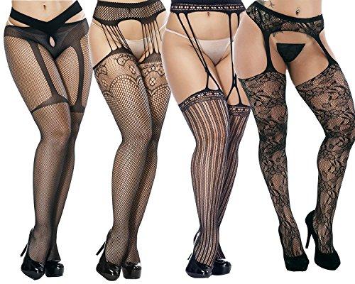 ANDIBEIQI 4 Paar Damen Strapsgürtel Strapse Set inklusive Strumpfhosen Netz Strümpfe Socken mit Spitzen Bordüre Einheitsgröße M-XXXL