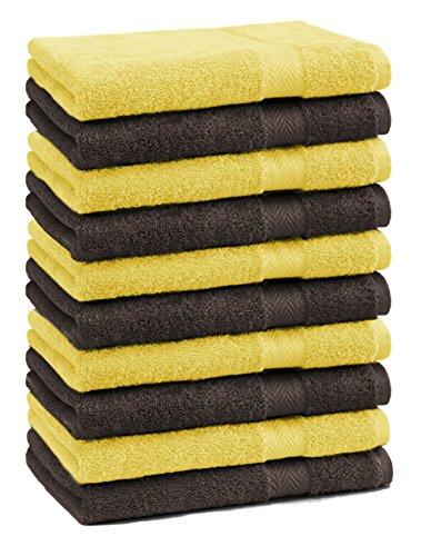 Betz lot de 10 serviettes débarbouillettes taille 30x30 cm 100% coton Premium couleur jaune et marron foncé