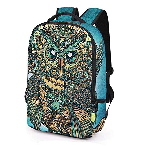 XHHWZB Teen Rucksack Kreative Mode 3D Multi-Eyed Eule Studententasche