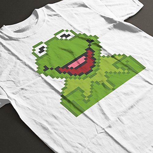 Kermit The Muppets Pixel Character Women's T-Shirt white