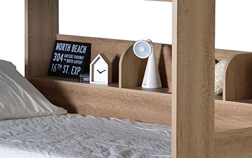 Happy Beds Domino Oak Wooden and Metal Kids Storage Bunk Bed with 2x Memory Foam Mattress 3' Single 90 x 190 cm