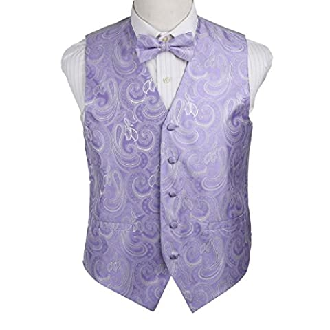 EGE1B01A-L Medium Purple Waistcoats Vest For Mens Paisley Microfiber Waistcoat and Pre-tied Bow Tie Beautiful Shopstyle By