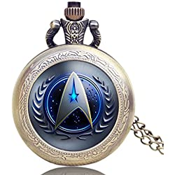 "STAR TREK Blue Logo Crest Antiqued Bronze Effect Retro/Vintage Case Men's Quartz Pocket Watch Necklace - On 32"" Inch / 80cm Chain"