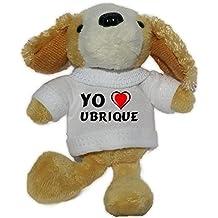 Perro de peluche (llavero) con Amo Ubrique en la camiseta (ciudad / asentamiento)