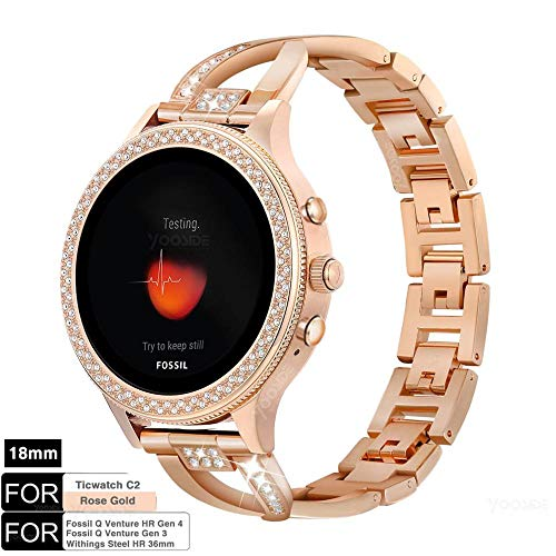 YOOSIDE Armband für Fossil Damen Smartwatch,18mm Schnellverschluss Edelstahl Bling Uhrenarmbänder für Ticwatch C2 Rose Gold,Fossil Venture Gen 3/Gen 4/HR Gen 4,Withings Steel HR 36mm,Rotgold