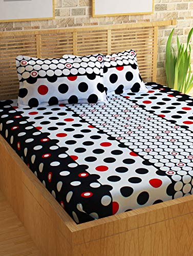 Story@Home 100% Cotton 120 TC Candy Collection Dots Pattern 1 Double Bedsheet with 2 Pillow Cover - White