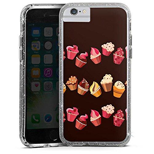 Apple iPhone 6s Bumper Hülle Bumper Case Glitzer Hülle Chocolate Muffins Cupcake Cake Bumper Case Glitzer silber