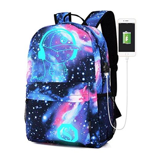 Venmo Frauen Space Galaxy Rucksäcke College School Book Bag Travel Wandern Camping Tagesrucksack Galaxy Schultasche Schultertaschen Rucksack Collection Canvas USB Ladegerät für Teen Girls Kids (Blau)