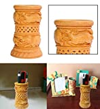 Indiabigshop Holz handgefertigte Stifthalter handgefertigten Elefanten und Dear Design in Runde shap Lagerung, die in de