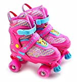 Kids Adjustable 4 Wheel Quad Roller Skates Boots Childrens Rollers (Pink, Large /UK 5 - 7/)