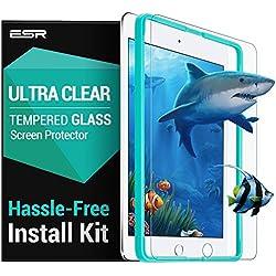 Nuevo iPad 2017/ iPad Air 2/ iPad Pro 9.7/ iPad Air Protector Cristal Templado para Pantalla [Fácil de Instalación] con Marco para Colocar, Anti-Huellas Dactilares, Anti-arañazos de 9H Dureza ESR Protector Pantalla