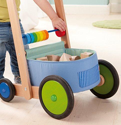 HABA 6432 - Lauflernwagen Farbenspaß, Lauflernhilfe aus Holz und Textil mit bunten Spielelementen, Transportfach für Spielsachen, Bremse und Gummirädern, ab 10 Monaten - 3