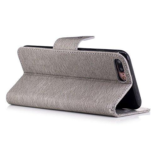 TOYYM iPhone 7 Hülle,Ultra Dünn Folio Lederhülle PU Leder Flip Cover Wallet Case Cover Tasche für Apple iPhone 7 4.7Zoll,Schmetterling Muster Design Bookstyle Brieftasche Schutzhülle mit Standfunktion Grauer Bär