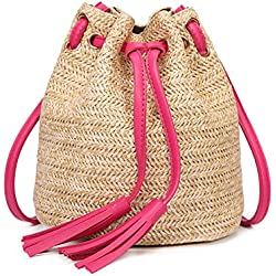 Haodou Bolsa de Playa Casual Mini Bolsas de Paja Bolsas de Hombro Cruz Cuerpo Mujeres Rattan Flecos Bolso del Cubo del Lazo Para la Playa del Verano Bolso Paja Bolso Mimbre Bolsos de Paja Bolso Verano