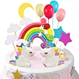 Unicorn Cake Topper Cloud Rainbow Star Balloon Cake Topper Decoraciones de pasteles Comestibles Stand Up Wafer para cumpleaños Boda Baby Shower Party Pack de 15