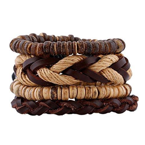 Injoy Jewelry Pulseras de Cuero Trenzado de múltiples hebras Cordón de cáñamo Pulsera Ajustable Conchas de Coco Pulsera Conjunto de 4 Piezas