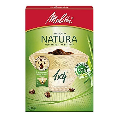 Melitta Filtertüten Natura 1x4, 3 Aromazonen, Bambus, Naturbraun, 80 Stück (Melitta 3 Kaffeefilter)