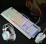 HUOFEINIAO Gaming Keyboard Maus Headset Dreiteilige Set Robotic Kabel Internet Cafe Internet Cafe Computer Desktop Set E-Sport-Spiel-Set,White