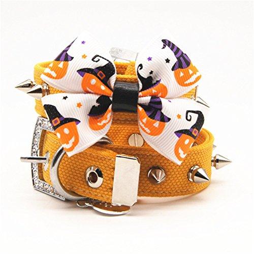 Yunt Weihnachten Halloween Hundehalsbänder Kostüm Halsband mit Nietbolzen Schleife Weiche Halskette Verstellbare Halsband in Gelb Geschenke für Haustier Hunde Katzen S/M/L/XL (Bichons In Halloween Kostüme)