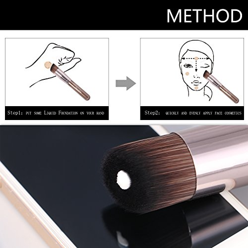 Foundation Make up Brush,ZaKitane Flat Angled Buffer Kabuki Contour Powder Brushes,Beginners' Face Cheeks Cosmetic Sculpting Makeup Learning Tool Brush Wooden Handle Perfect for Stippling,Concealer