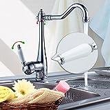 Auralum® Elegant Armatur Einhebel Wasserhahn mit weißem Griff Waschtischarmatur Waschbecken Spültischarmatur Retro-chic
