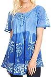 Sakkas 18713 - Magda Damen Kurzarm Flare Bohemian Bluse Top Spitze Batik gedruckt - Royal Blue - OSP