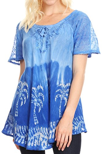 Sakkas 18713 - Magda Womens Kurzarm Flare Bohemian Bluse Top Spitze Batik gedruckt - Royal Blue - OS