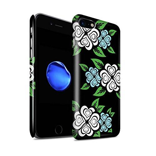 STUFF4 Glanz Snap-On Hülle / Case für Apple iPhone 8 / Weiß/Türkis Muster / Liebe Herz Rosen Kollektion Weiß/Türkis