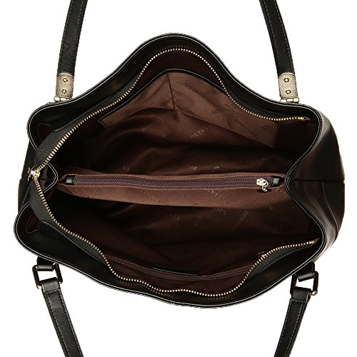 BOSTANTEN Vera Pelle Borsa Donna Sacchetta Tote a Spalla Manico Shoulderbag Top-Handle Nero