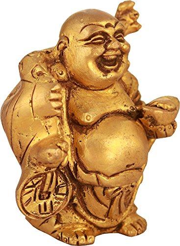 Exotic India Kleine Größe Lachender Buddha Statue, gelb, 2x 2,7x 3,5