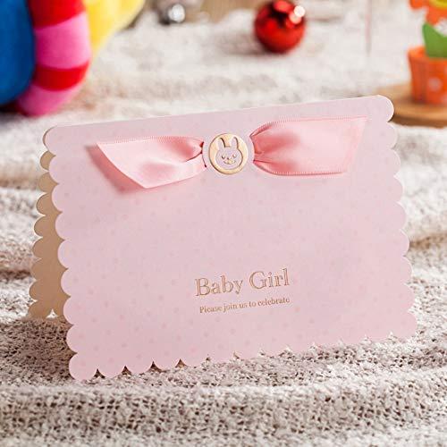 WISHMADE Carte Invito per Ragazza e Baby Shower compleanno Battesimo Inviti con Rosa Busta, Rosa, 20 pezzi