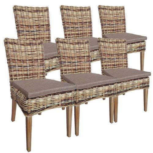 casamia Rattan-Stuhl Set 6 Stück Esszimmerstuhl New Bilbao aus Mangrove mit Sitzkissen One Size
