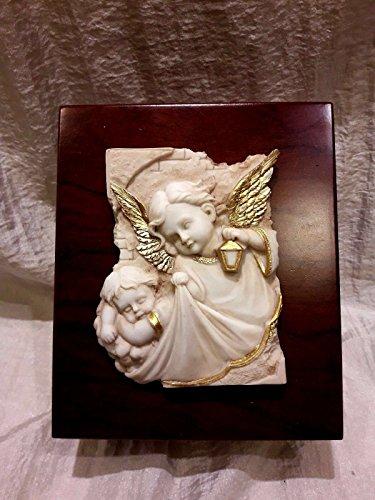 Portagioie legno con applicazione icona angeli bomboniere comunione battesimo
