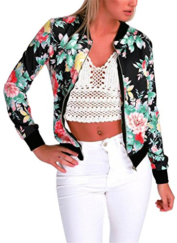 EUDOLAH Damen Blazer Strickjacke Sweatshirt mit Reissverschluss Streetwear Frühling Herbst Z-Schwarz S (Brust: 94cm Länge: 61cm)