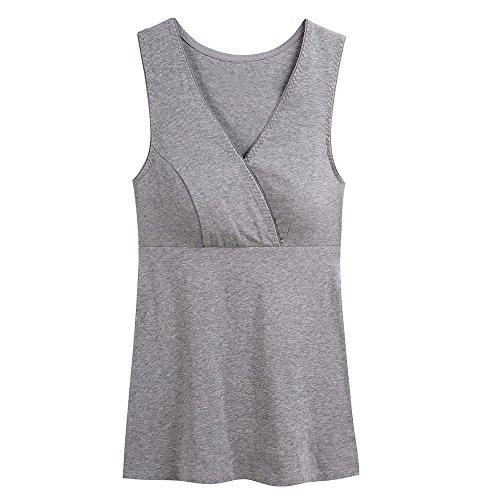 Abbigliamento Premaman Top, ZUMIY Maternità Vest Reggiseno al seno Canotta Gravidanza T-shirt del Tank Black+Grey/2Pack