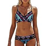 Kobay Frauen Böhmen Push-Up gepolsterte BH Beach Bikini Set Badeanzug Bademode (L, Grün)