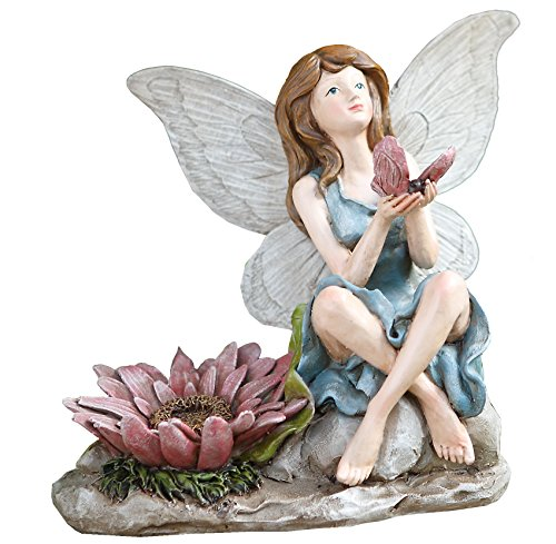 Napco 11285Sitzende Fee mit Vogel Garten Figur, 19,7cm