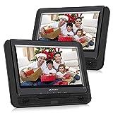 Pumpkin Lettore dvd portatile bambini auto poggiatesta con doppio 9'' schermi, lettore usb/sd /mmc, gioca circa 5 ore, supporta av-in/out, regione free