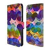 Head Case Designs Offizielle Ninola Abstrakte Farbenwellen Aquarellmalerei Brieftasche Handyhülle aus Leder für HTC Desire 820