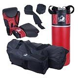 ScSPORTS DG02 Box-Set für Jugendliche Boxsack Boxhandschuhe Boxbandagen 5,5 kg Kunstleder 10-16 Jahre