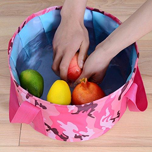 Lavabos de Salle de Bain Pliable lavabo Portable Pliant lavabo Baignoire extérieure Voyage Sac Pliant (Color : Pink 1, Size : 29 * 18cm)