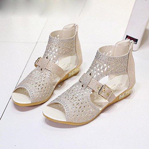 Kaiki Sommer Frauen Wedge Sandalen Mode Fisch Mund Pumps Höhle aus Schuhe Beige