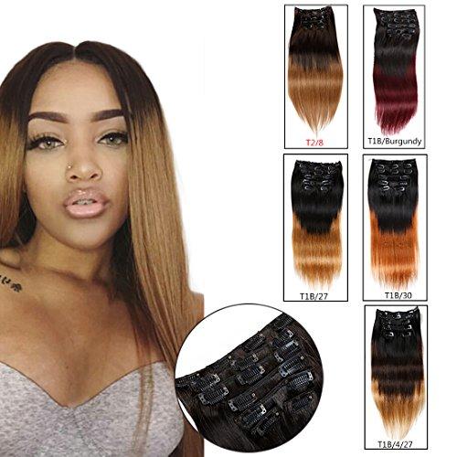 viviabella Clip Extensions de cheveux tête complète cheveux humains droite Blond cuivre rouge bordeaux ombré 70 G- 160 g 20,3 cm -28 \\