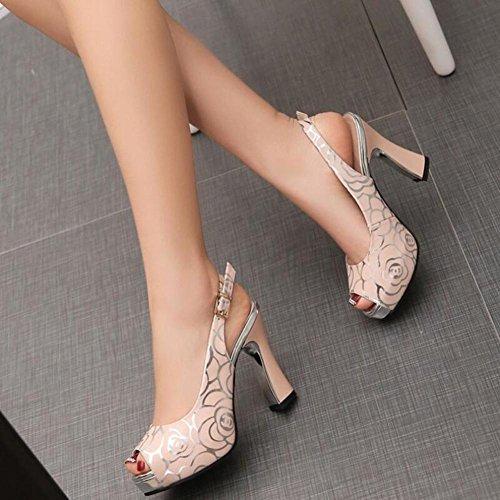 Lemon&T Floral Style Vintage Summer Motif en cuir véritable Peep-toe Women Rubber Sole Chunky Heels Un Sandales Boucle pink