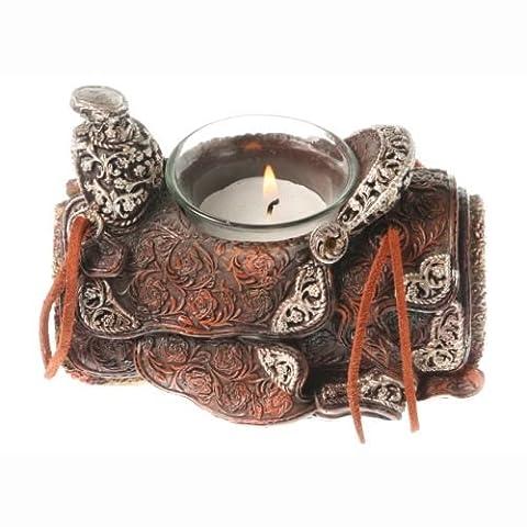 Western Teelicht Sattel braun - Saddle Candle Holder