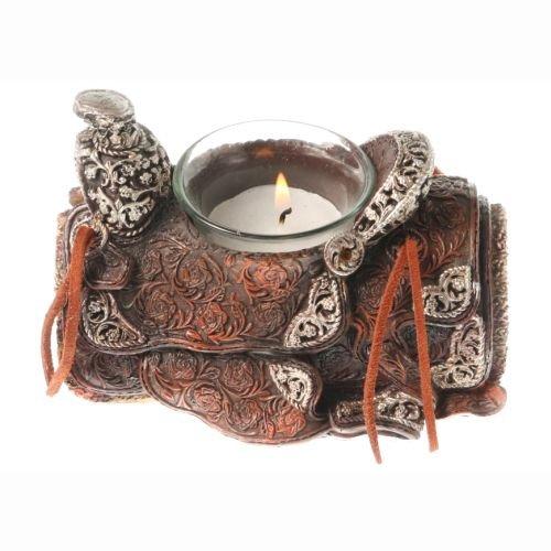 Western vela marrón - sillín Candle Holder Brown