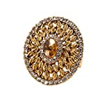 #8: Bindhani® Traditional & Ethnic Gold Plated Finger Ring For Women (Adjustable, Golden Stone)