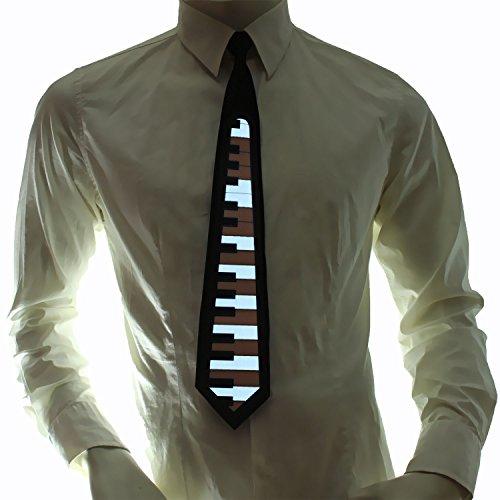 Preisvergleich Produktbild Ucult Musiker Krawatte Soundaktivierte LED-Krawatte Klavierkrawatte Klaviertasten Schlipps Herrenkrawatte Karneval Faschingskosüm