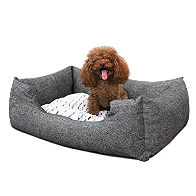 SONGMICS Gray Dog bed Plush Soft Comfortable Round Pet Bed Washable Removable S M